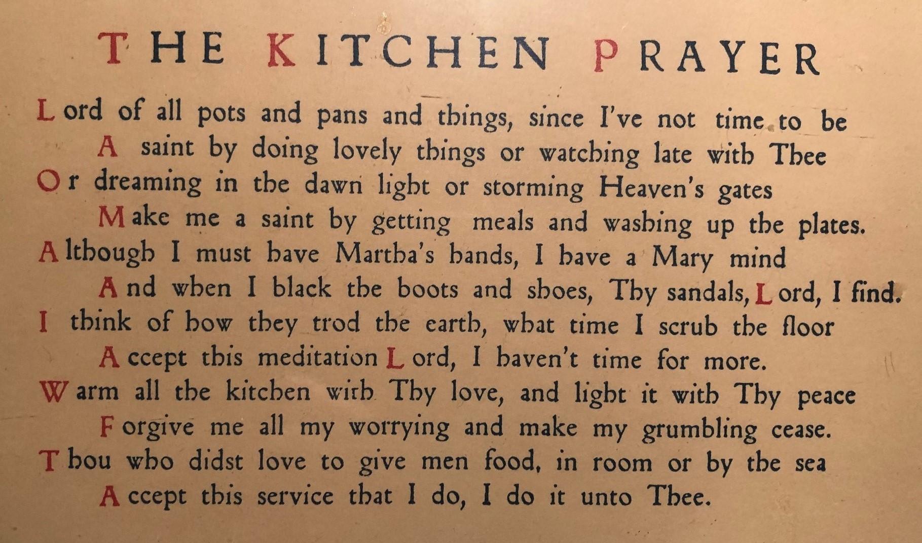 Kitchen Prayer